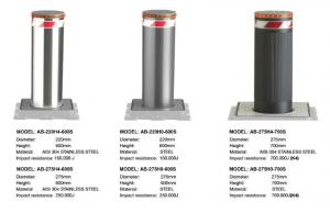 World class stainless steel hydraulic bollards.