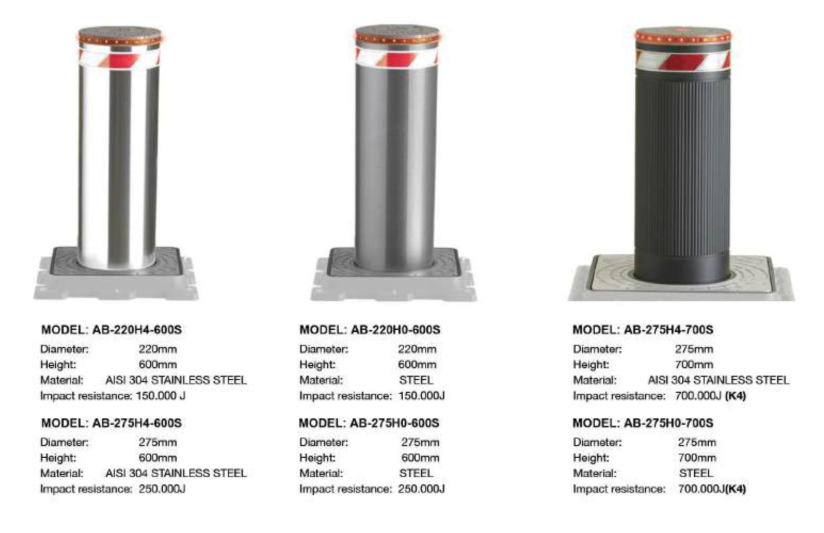 World class stainless steel hydraulic bollards.